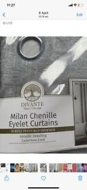 Chenille curtains and matching cushions + curtain pole