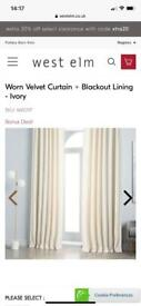 West Elm ivory velvet curtains