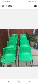 4 retro robin day polo skid chairs.signed on the base