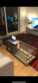 West Elm Terrace Coffee Table, Gold, Metal, Glass, Mirrored, RRP £419.00