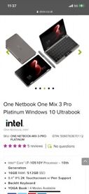 SAVE £440, FEW WEEKS OLD,ONE NETBOOK ONE MIX 3 PRO PLATINUM WIN 10 ULTRABOOK LAPTOP, I7 10 TH GEN