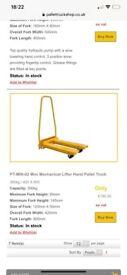 Pallet lifter,mini mechanical hydraulic lifter,hand pallet truck