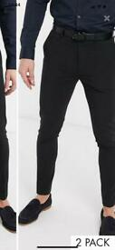 Black super skinny for trousers ASOS 30/30 x2