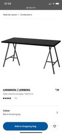 Long desk IKEA black