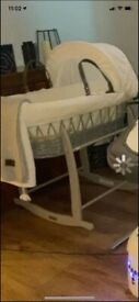Grey & white Moses basket and wooden rocking stand