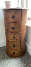 5 drawer sold wood side