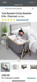 Bedside crib & canopy & Tens machine 2 baby girl clothes bundle & ceva mama anti reflux pillow