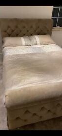 Double Sleigh non storage bed in Plush Milan Beige with button. Free Hilton spring double mattress