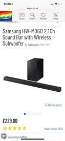 Samsung 200watt soundbar and wireless speaker