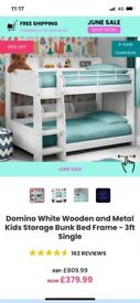 White wooden and metal kids bunk bed frame
