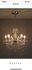 B&Q CLEAR GLASS & CRYSTAL 5 ARM CEILING CHANDELIER WITH CANDLE LED BULBS