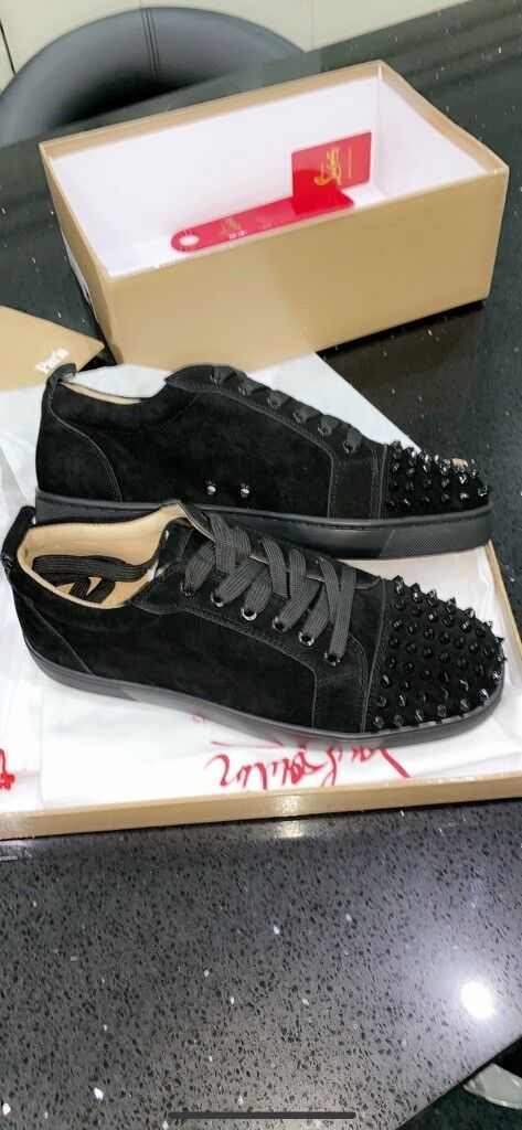 c957b319a4a IN STOCK. MENS CHRISTIAN LOUBOUTIN SIZE 8   9. LOW SUEDE SPIKES. RED BOTTOMS