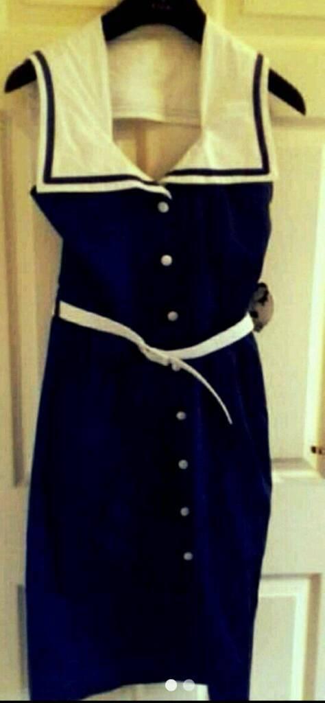 Stunning Retro Hell Bunny Nautical Dress size medium new with tags