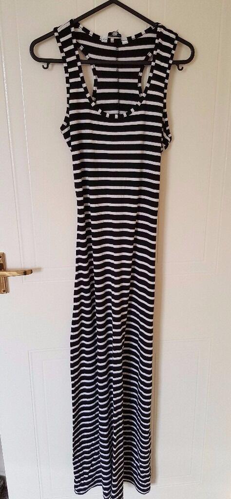 Black White Stripe Maxi Dress - UK Size 8