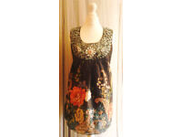 Black Multi Colour New Floral Patterned Ornate Beads Embellished Tunic Top. Size 20.