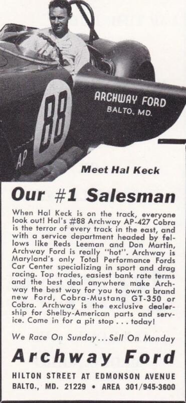 Rare Original 1965 Shelby Cobra Ad/Archway Ford, Baltimore / Hal Keck