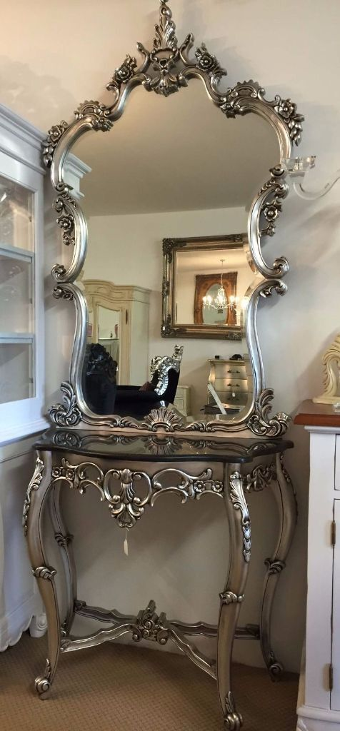 French Rococo Versailles Console Table Mirror Silver Leaf Furniture