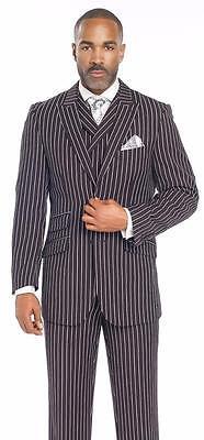 Weiß 3 Stück Anzug (Neu Ej Samuel 3 Stück Schwarz Weiß Gestreift Einreihig Weste Mode Anzug M2700)