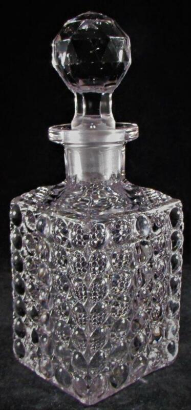 Antique Thousand Eye Optic Glass Square Decanter with Ground Stopper & Pontil