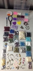 A79) NEW BULK JOB LOT CRAFT.JEWELLERY MAKING.EMBELLISHMENT.BEADS.CHARMS.ELASTIC.STORAGE BOX.PLIERS+