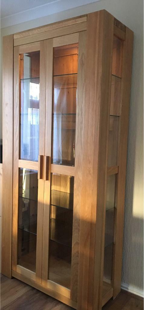 Quality solid light oak display cabinet