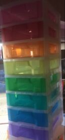 SOLD! 8 Drawer Really Useful Multicoloured Storage Tower on wheels