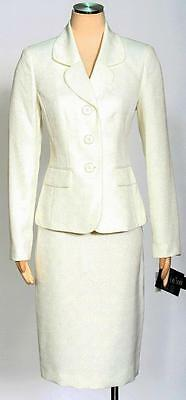 Le Suit Vanilla Ice Skirt Suit Size 10 Textured Pockets Round Print Women's New*