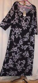 New, stretch jersey, black & white, floral, women's dress - plus size 28