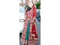 Red/Green/Gold, Asian/South Indian Wedding Dress/Lengha