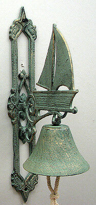 Cast Iron Wall Mount Large Sailboat Bell Indoor or Outdoor