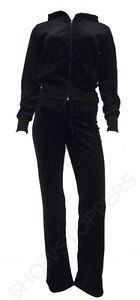 NEW Womens TRACKSUIT VELOUR Hoodie POCKET Ladies SUIT Black Size 8 10 12 14 16 *