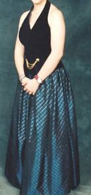 Dark Blue & Black Halter neck Prom/Ball/Evening Gown - Size 12