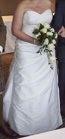 Veromia Ivory Pearl taffeta A-line dress, diamante bodice, sweetheart neckline strapless or 2 straps