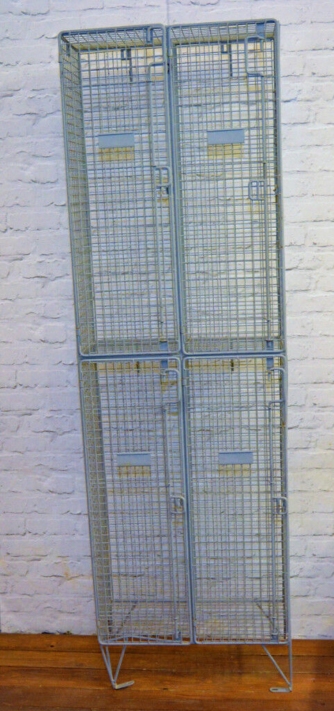 Galvanised wire metal caged double locker vintage industrial antique ...