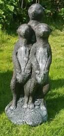 Family of meerkats garden ornament