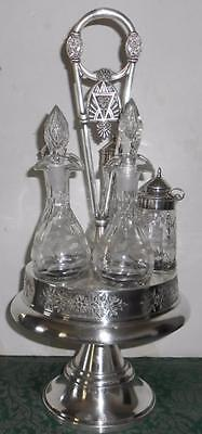 Antique Victorian Silverplate Rogers Smith Quadruple Plate 5 Crystal Cruet Set