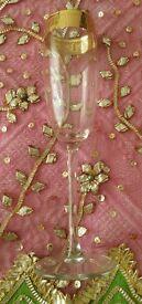 *New Gold Embossed Crystal Champagne Flute Glass Set x 6 Glassware: Italian Design: Christmas