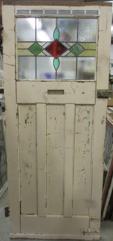 "OLD ENGLISH Stained Glass Door Gorgeous Geometric Band Design 34"" x 82"""