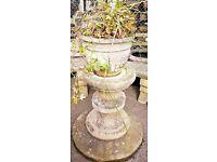 Weathered stone garden planter