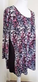 Plus Size: New ANTHOLOGY Pink Grey Black Floral 3/4 Sleeve Top - SIZE 20