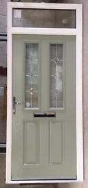 Green composite door and clear glass top light