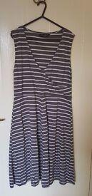 Women's Dress - Dorothy Perkins Grey Stripe Dress - Size 16 - Excellent condition
