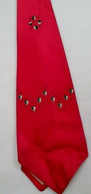 1950s Men's Ties, Bow Ties – Vintage, Skinny, Knit Swinging 1950s Rockabilly Tie Necktie Red w/ Green Cream Geometric Shield Crest $8.96 AT vintagedancer.com