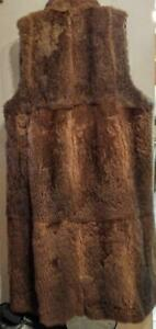 Oakville $2000 Womens Vest Coat Liner 14 16 L XL / Long Large Real Fur Lining / Lined in Thick Satin / Australian Possum