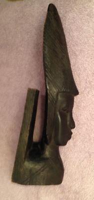 Handmade Wood Bookend Holder African Face Black Dark Native Decor Figurine Face for sale  Waunakee