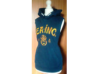 """Ladies Navy Blue Sleeveless Hoodie Hoody with Yellow """"Sea Inc"""" Text.Size 14."""