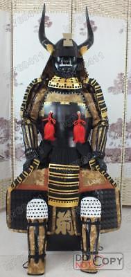 Japanese armor Samurai Golden Big Horn Suit Helmet Mask O02