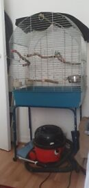 Large bird cage with stand + extras.