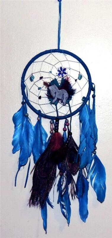 """Blue Chow Chow Dream Catcher with Turquoise Peacock Feathers  6"""" Ring"""