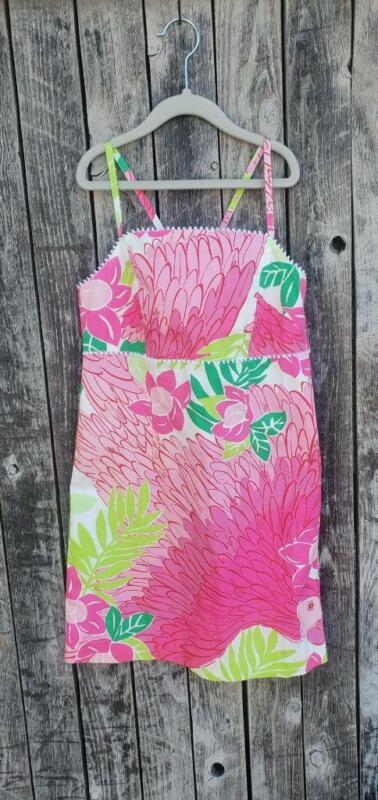 Girls Size 12 LiIly Pulitzer Parrot Pink Tank Dress EUC